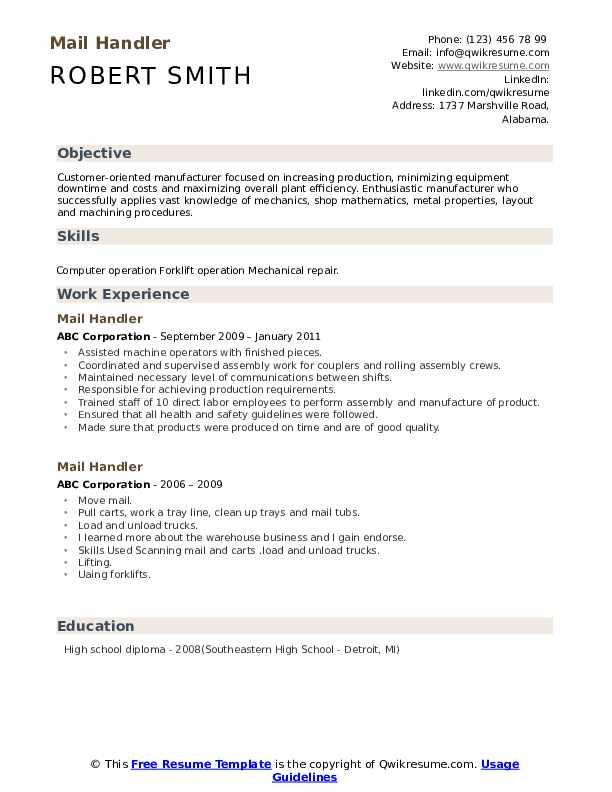 Mail Handler Resume Model