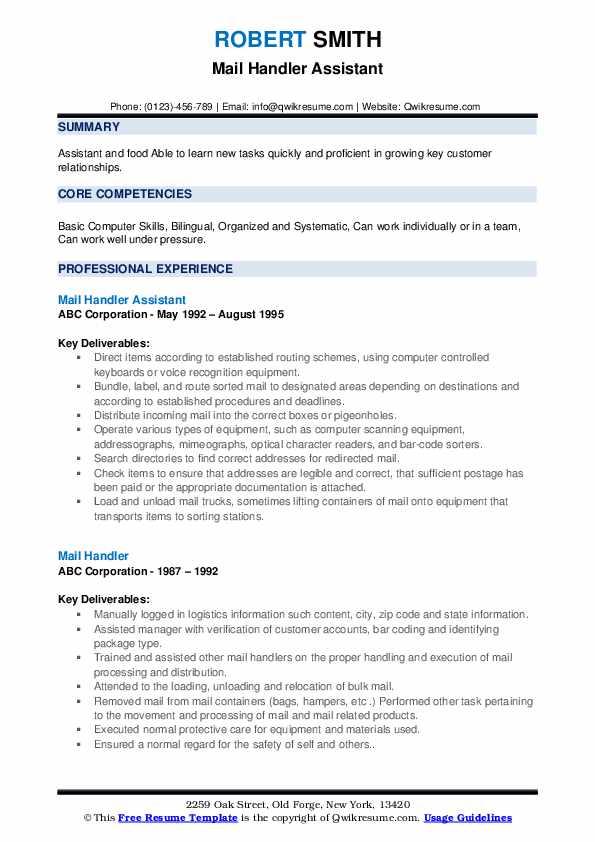 Mail Handler Assistant Resume Format