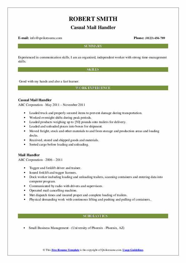 Casual Mail Handler Resume Example