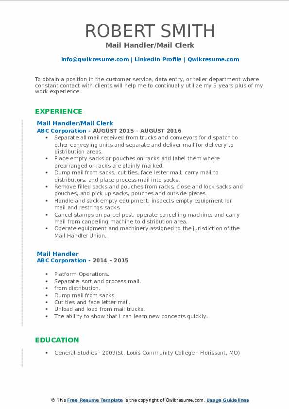 Mail Handler/Mail Clerk Resume Template