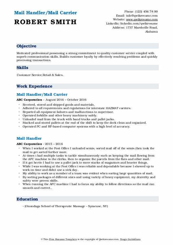 Mail Handler/Mail Carrier Resume Model