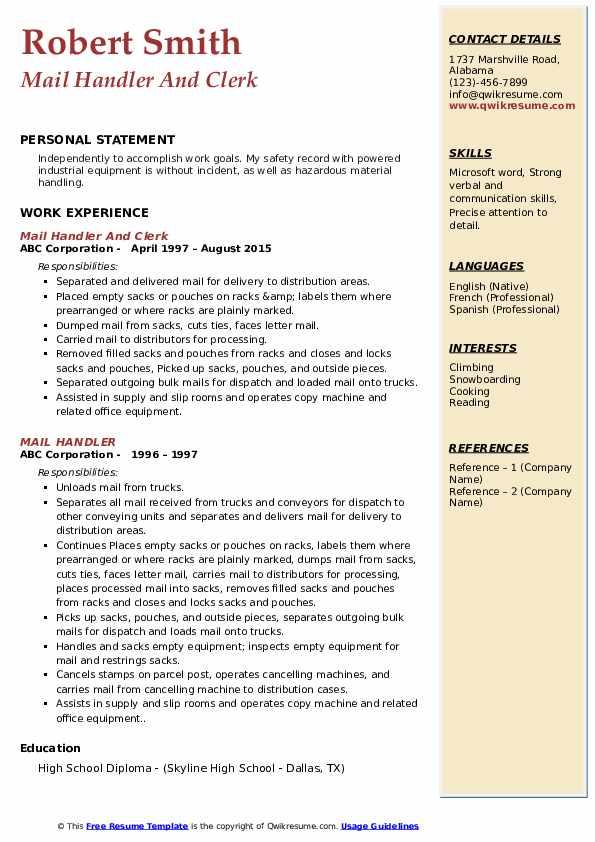 Mail Handler And Clerk Resume Sample
