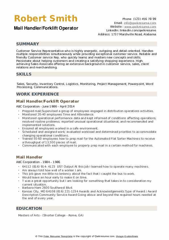 Mail Handler/Forklift Operator Resume Sample