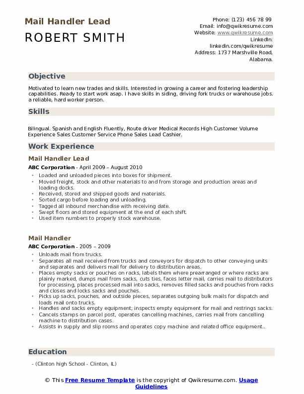 Mail Handler Lead Resume Model