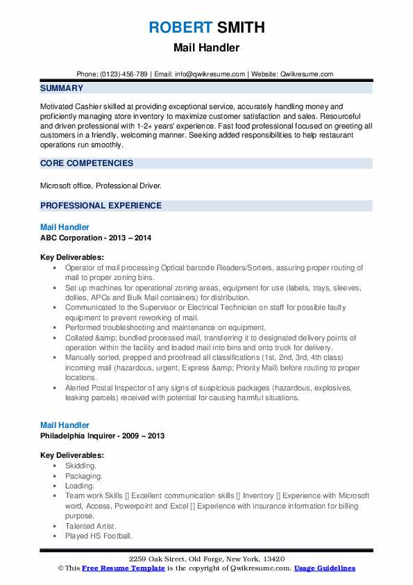 Mail Handler Resume example
