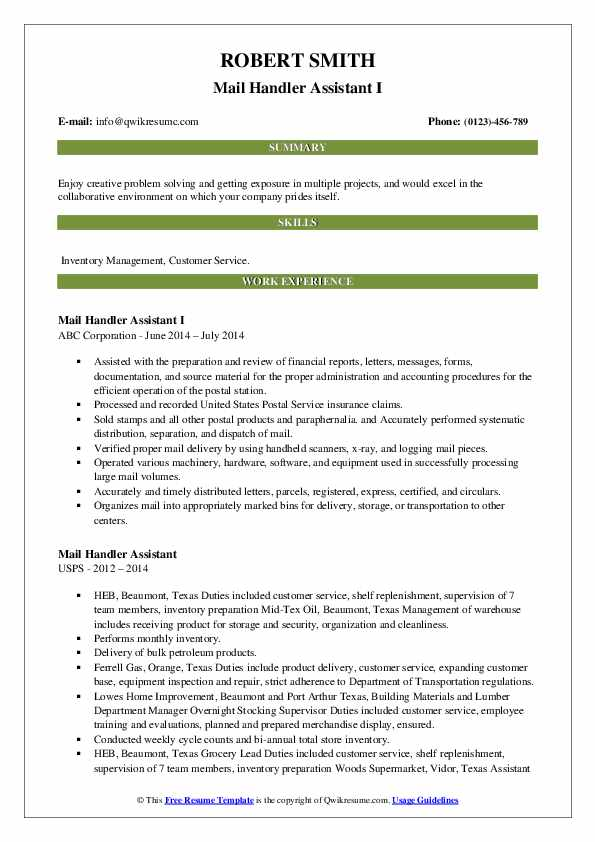 Mail Handler Assistant I Resume Example