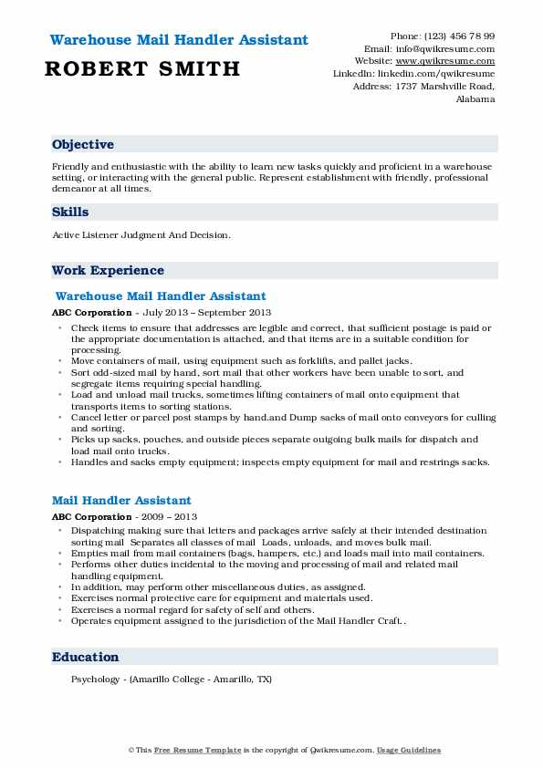 Warehouse Mail Handler Assistant Resume Format