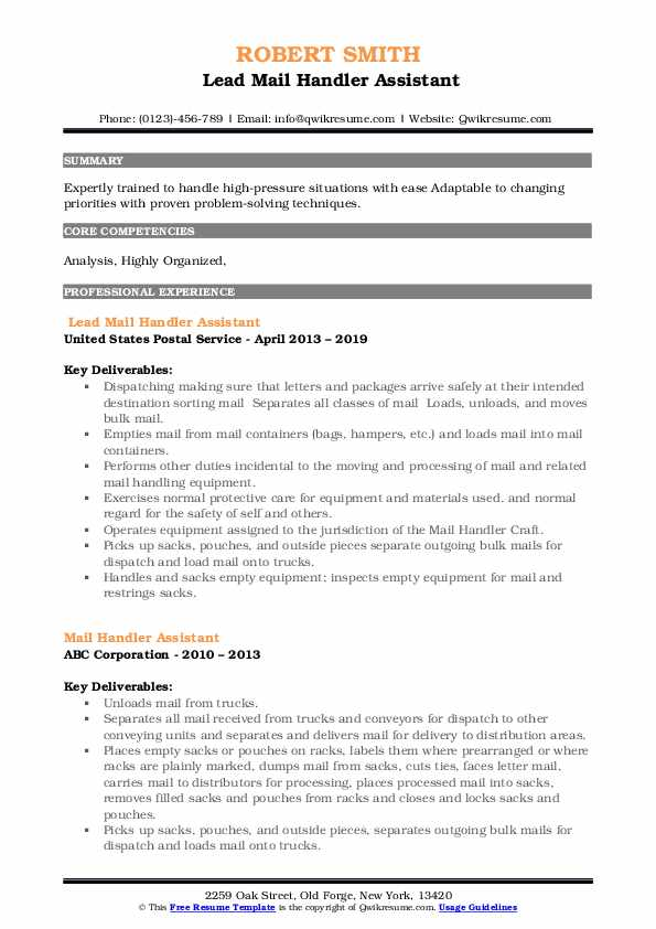 Lead Mail Handler Assistant Resume Example