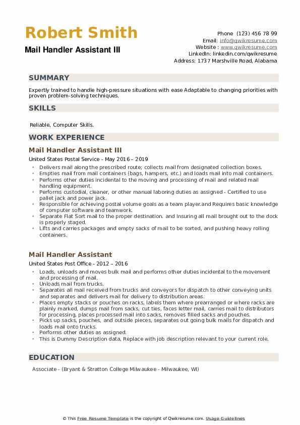 Mail Handler Assistant III Resume Example