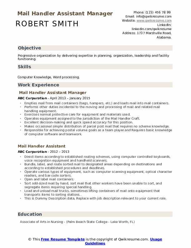 Mail Handler Assistant Manager Resume Format