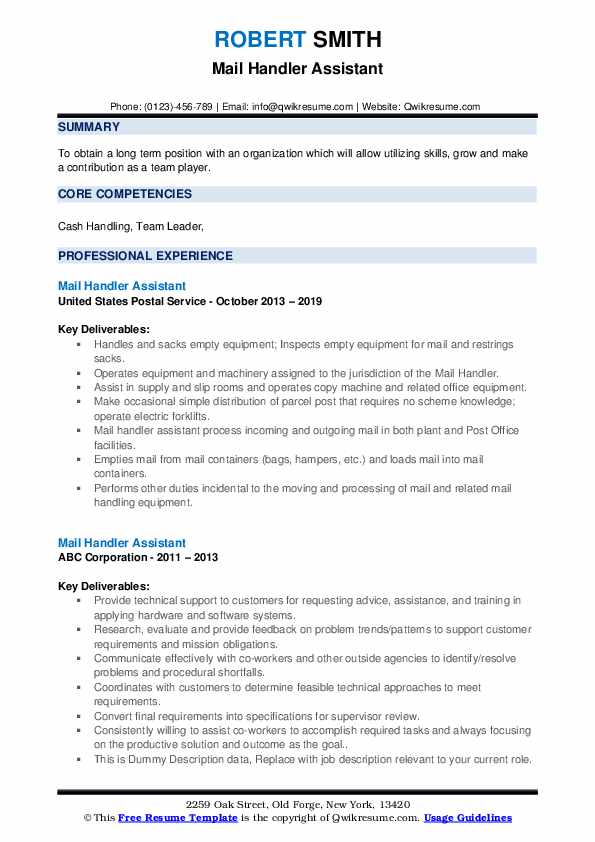 Mail Handler Assistant Resume example