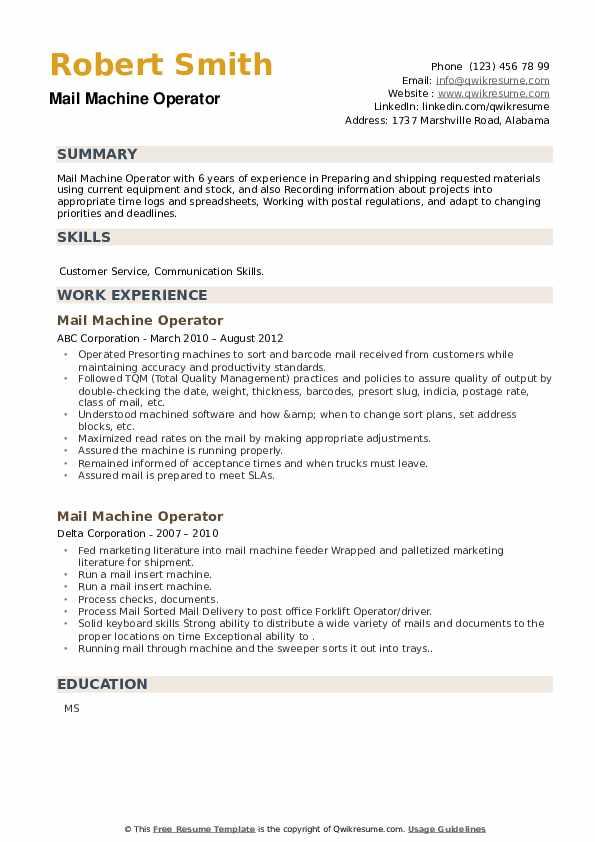 Mail Machine Operator Resume example