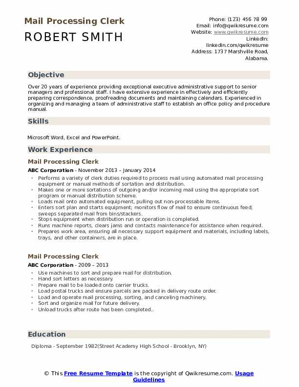 Mail Processing Clerk Resume Template