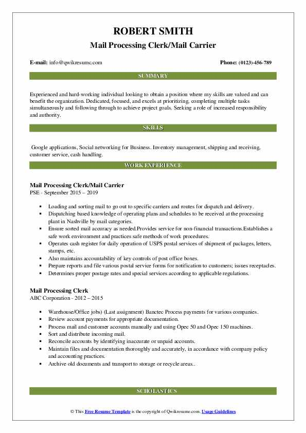 Mail Processing Clerk/Mail Carrier Resume Sample