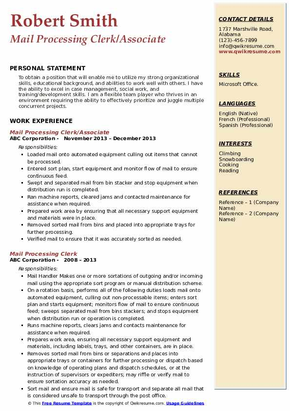 Mail Processing Clerk/Associate Resume Example
