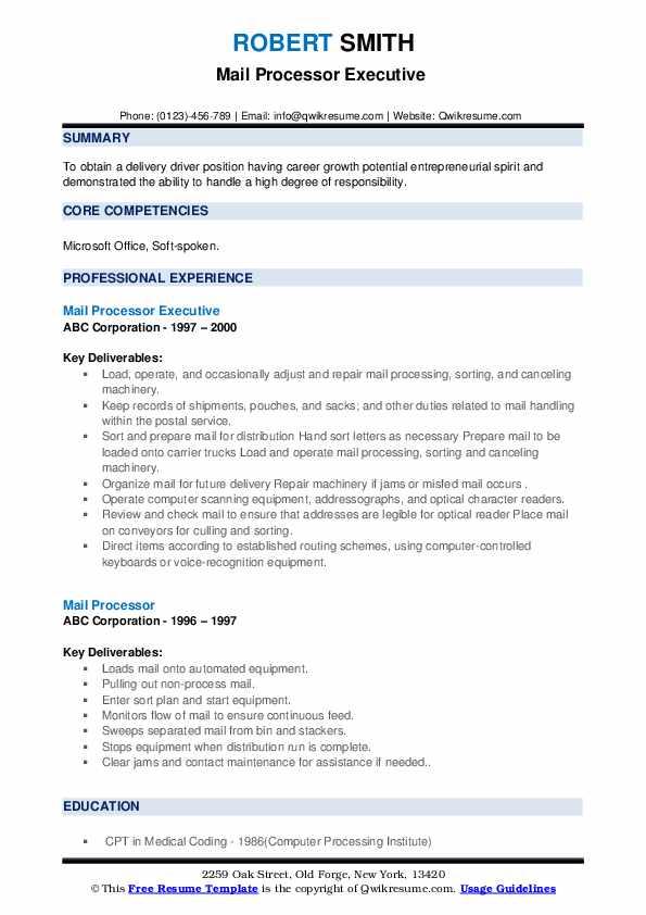 Mail Processor Executive  Resume Example