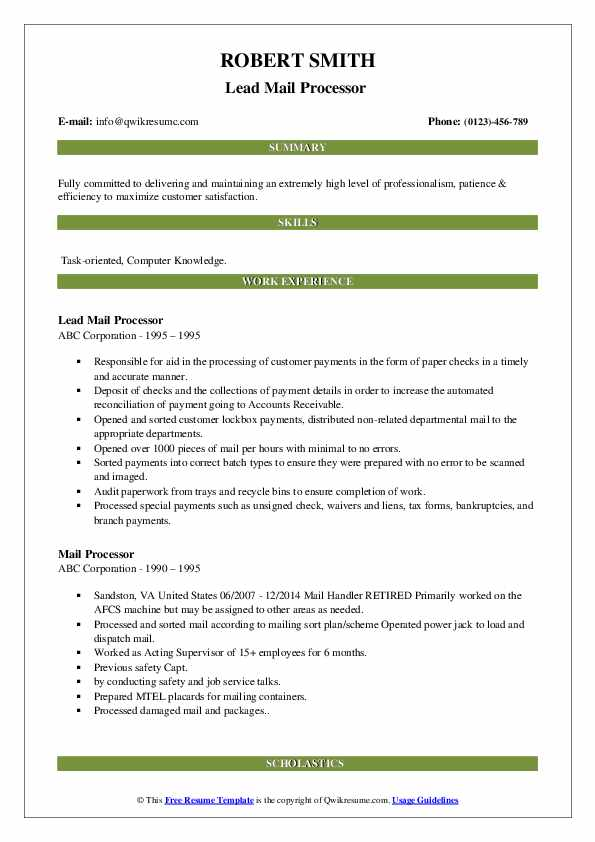 Lead Mail Processor  Resume Format