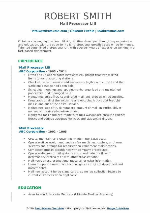 Mail Processor LIII Resume Sample