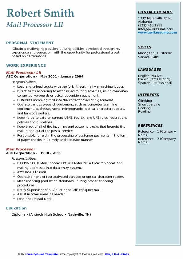 Mail Processor LII Resume Example
