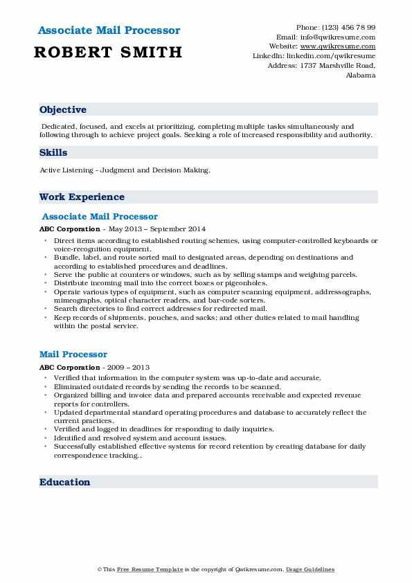 Associate Mail Processor Resume Model