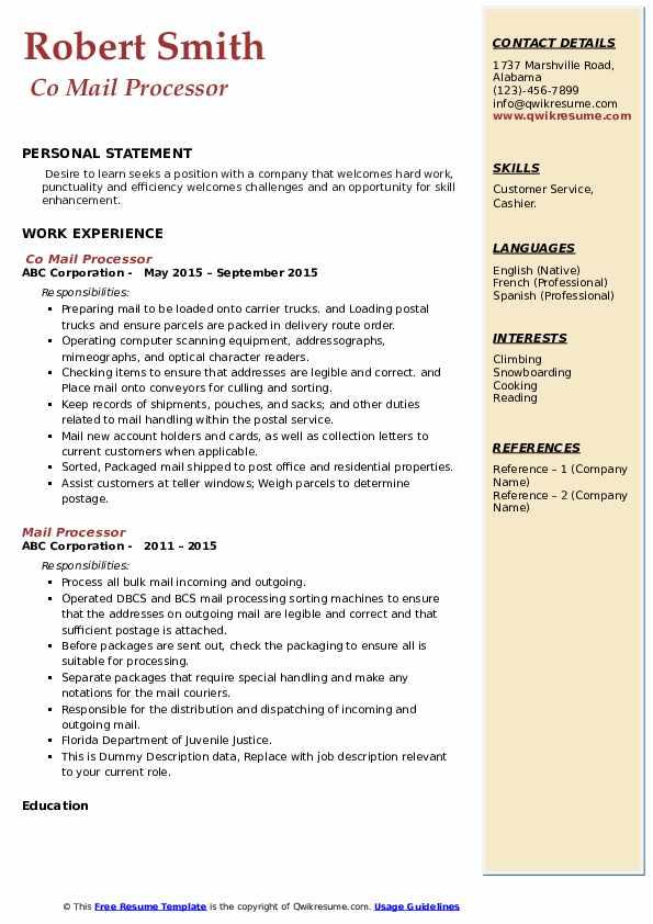Co Mail Processor Resume Model