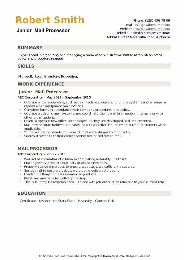 Junior  Mail Processor  Resume Example