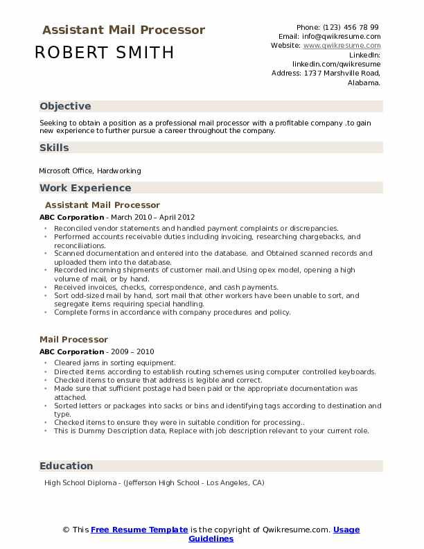 Assistant Mail Processor  Resume Format