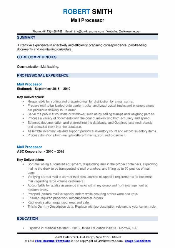 Mail Processor Resume example