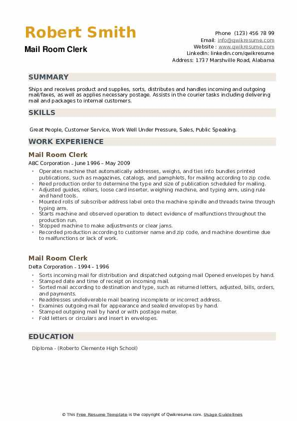Mail Room Clerk Resume example