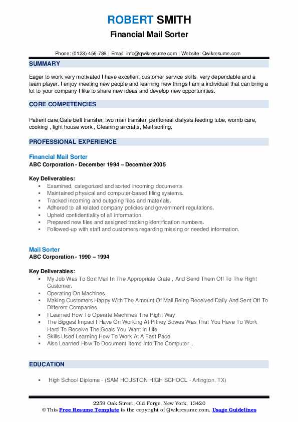 Financial Mail Sorter Resume Format