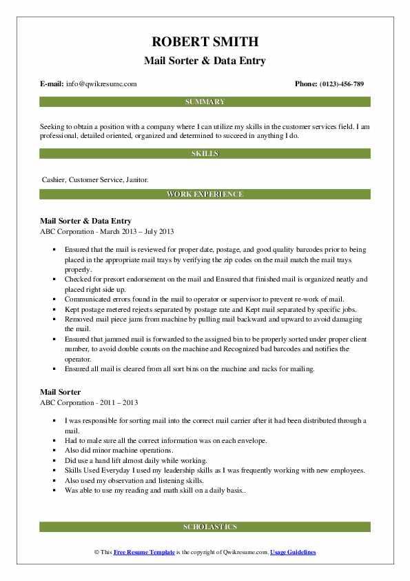 Mail Sorter & Data Entry Resume Sample