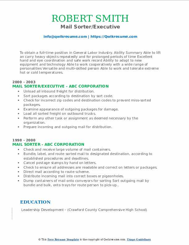 Mail Sorter/Executive Resume Sample