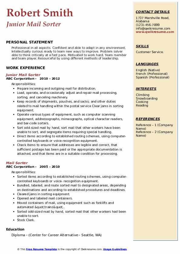 mail sorter resume samples