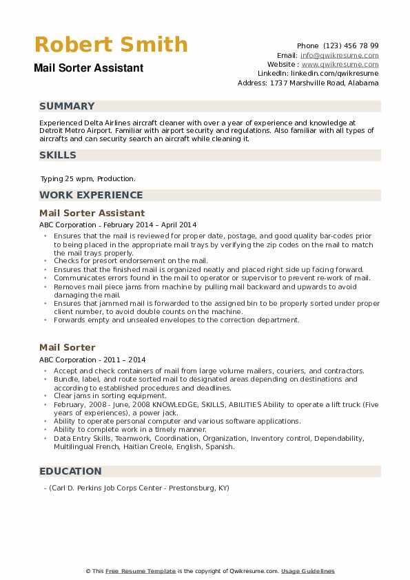 Mail Sorter Assistant  Resume Template