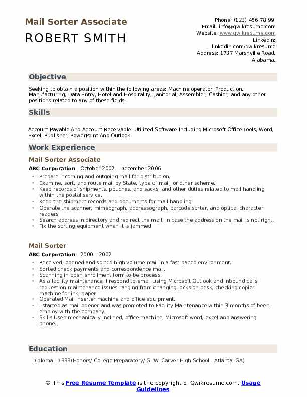 Mail Sorter Associate Resume Template