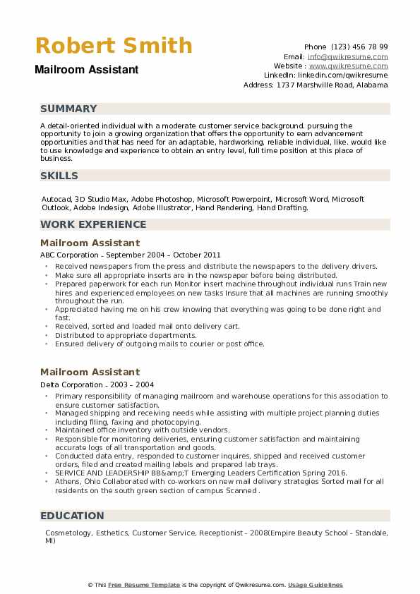 Mailroom Assistant Resume example