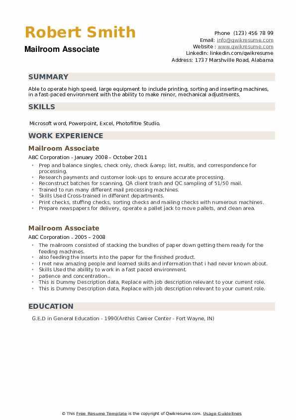 Mailroom Associate Resume example