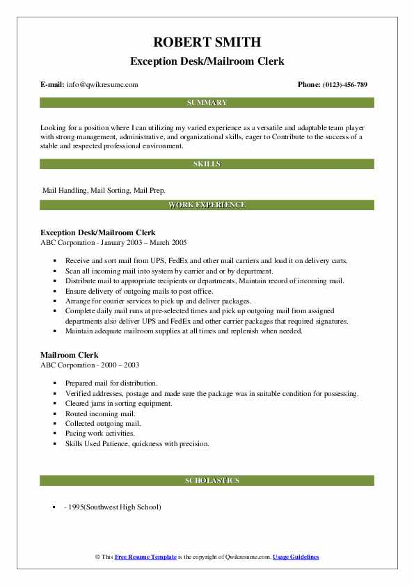 Exception Desk/Mailroom Clerk Resume Example