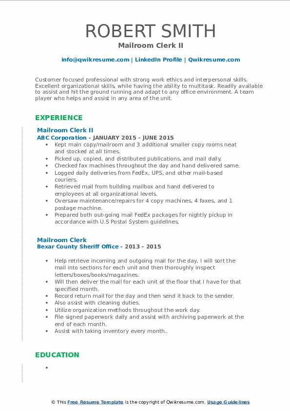 Mailroom Clerk II Resume Format