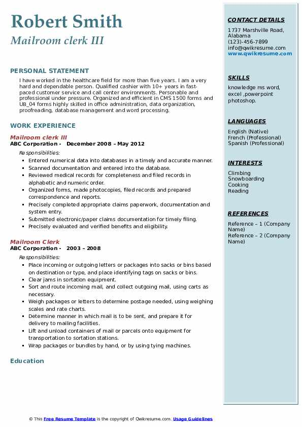 Mailroom clerk III Resume Example