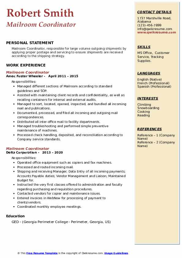 Mailroom Coordinator Resume example