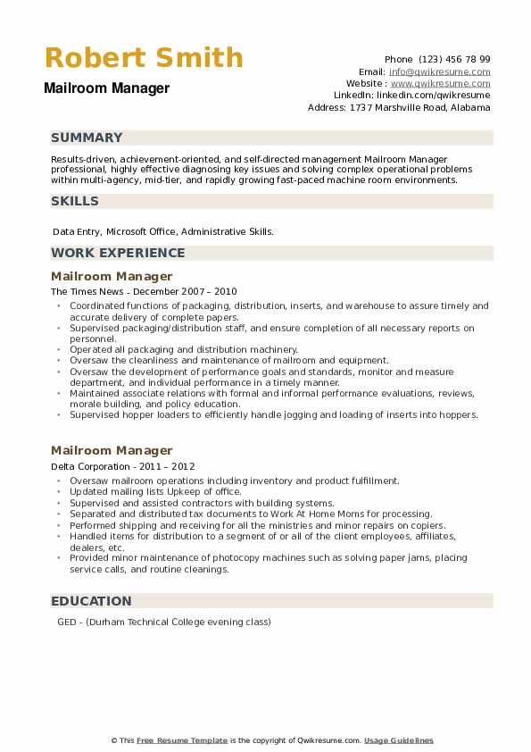 Mailroom Manager Resume example