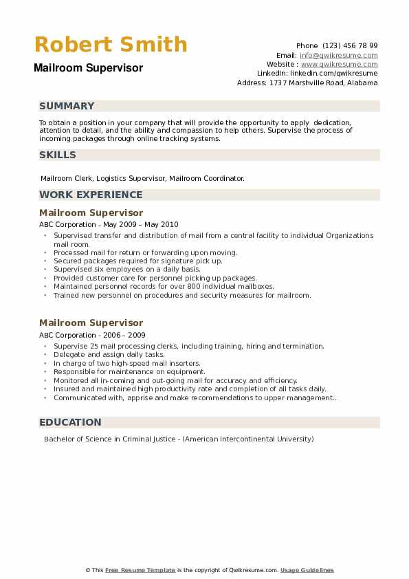 Mailroom Supervisor Resume example