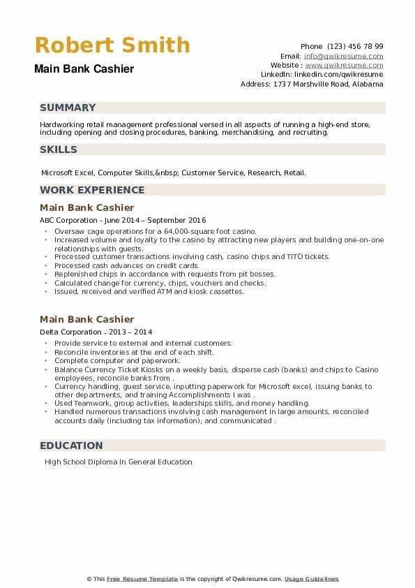 Main Bank Cashier Resume example