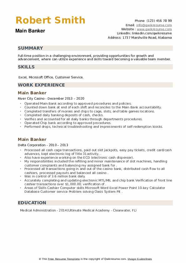 Main Banker Resume example