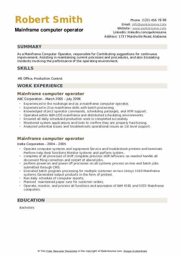 Mainframe computer operator Resume example