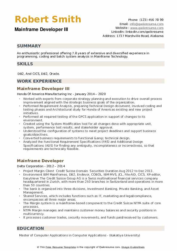 Mainframe Developer Resume example