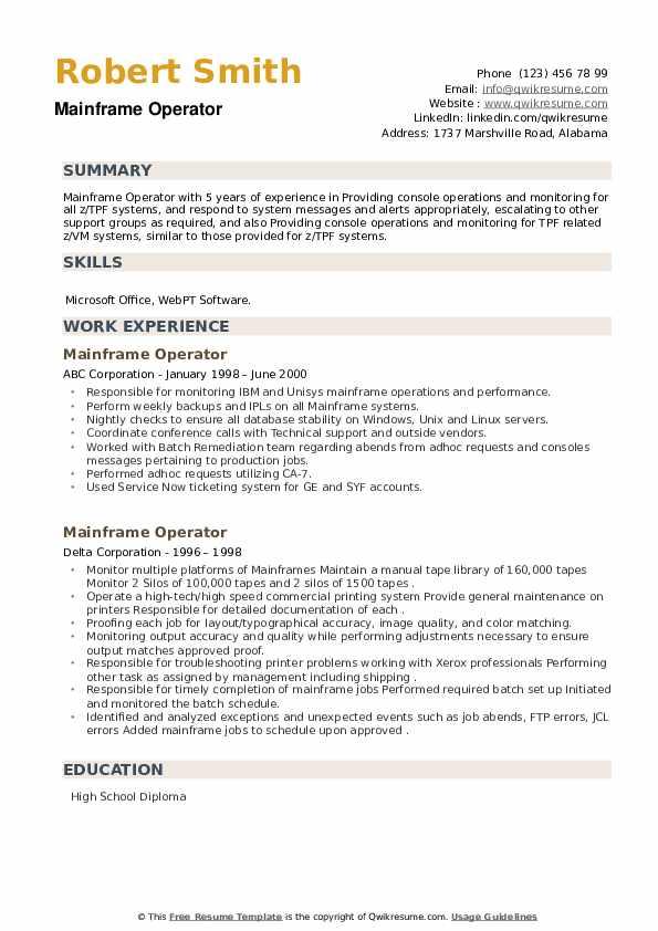 Mainframe Operator Resume example