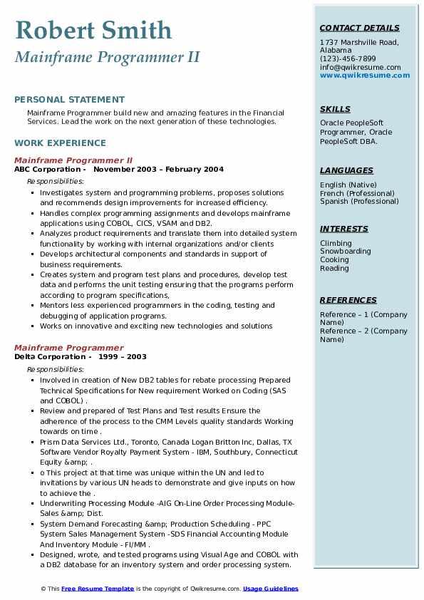 mainframe programmer resume samples  qwikresume