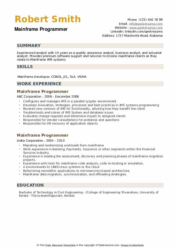 Mainframe Programmer Resume example